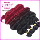 100% prolongation brésilienne de cheveux humains de vague de corps d'armure de cheveux humains d'Omber de Vierge, cheveux brésiliens colorés