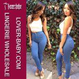 Pantaloni blu del Jean del commercio all'ingrosso della vita delle signore alti (L448)