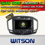 Carro DVD GPS do Android 5.1 de Witson para as insígnias 2014 de Opel com sustentação do Internet DVR da ROM WiFi 3G do chipset 1080P 16g (A5548)