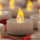 Sostenedor de cristal bajo blanco amarillo de Tealight que oscila