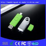 Movimentação plástica do flash do USB do presente OTG da promoção do giro quente da venda