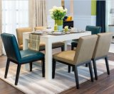 優雅で青いファブリックソファーの椅子/シャンペンの革ソファー