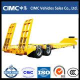 Cimc 3 차축 알제리아를 위한 유압 경사로를 가진 낮은 침대 트레일러 70 톤