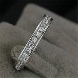 Anel de casamento contínuo chapeado da faixa da CZ da prata do ouro branco