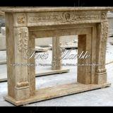Camino di marmo Mfp-1016 del calcio dell'oggetto d'antiquariato del camino del granito del camino di pietra del camino