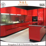 Armadio da cucina rosso dell'acciaio inossidabile della lacca di alta lucentezza di N&L