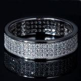 Zircon del embutido del anillo de la plata esterlina de los hombres y de las mujeres