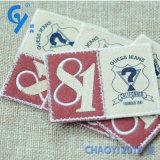 Hohes Qualityfactory kundenspezifisches Kreisform-blaues Hintergrund-Stickerei-Abzeichen