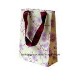 Folded-Shopping Fancy Paper Bag, poignées de ruban