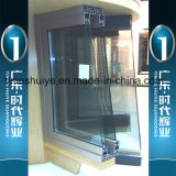 Puertas de aluminio del balcón con los vidrios y la decoración dobles