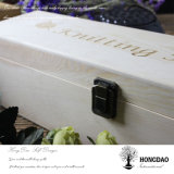 Hongdao kundenspezifischer hölzerner Wein-Flaschen-verpackenkasten mit eingehängter Kappe Wholesale_L