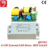 セリウムQS1163が付いている6-12W広い電圧か隔離された外部照明灯LEDドライバー