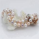 Encadenamiento 8m m de la manera de Snh del collar coloreado redondo de la perla