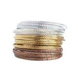 O ouro & o ouro & a prata de Rosa chapearam três cores pulseira indianas 36PCS/Set simples elegante ajustado