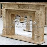 Cheminée en pierre de marbre Mfp-1016 de calcium d'antiquité de cheminée de granit