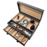 Caixa de relógio de couro do falso preto (6 relógios)