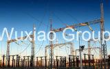 Estructura de acero de la subestación de la distribución del transformador de la transmisión de potencia