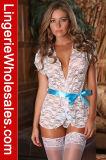 섹시한 여자의 레이스 겉옷 란제리는 허리띠 잠옷으로 놓았다