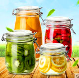 O frasco de vidro personalizado frasco selado do alimento do armazenamento do frasco do logotipo conserva latas