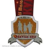 Zinc Alloy personalizzato Half Marathon 5k 10k Race Soft Enamel Medal con Sublimated Ribbon