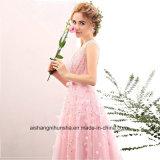 Femmes perlant la robe sans manche de bal d'étudiants de soirée de V-Collet des fleurs 3D