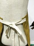 주문 노란 오리는 조정가능한 면 가죽 끈 도매를 가진 화포 일 앞치마를 밀초를 발랐다