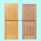 Peau de papier en bois de porte moulée par HDF de face de placage ou de mélamine