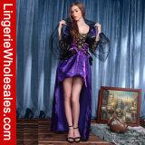Kleding van het Fluweel van luxeVrouwen de Purpere Slechte Koningin Cosplay Costume met het Af:drukken van het Brokaat