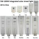 太陽LEDの街灯5年は保証夜が明けるために1つの薄暗がりのすべてを統合した