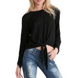 Camicia lunga casuale del manicotto della camicetta della Legare-Vita del raccolto di estate nera della parte superiore