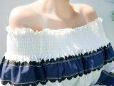 Soem-ursprüngliche Produktions-süsse Form-kragenloses langes Hülsen-Frauen-T-Shirt