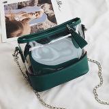 中国の工場ゆとり透過PVCハンドバッグはSy8508の中の小さい袋が付いている方法ショルダー・バッグをセットする