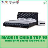 Кровать черного цвета самомоднейшая реальная кожаный двойная