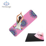 La gimnasia antirresbaladiza impresa aduana rosada de la estera de la yoga del caucho natural de la flor de loto de la mandala se divierte la estera