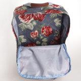 Estilo británico retro florales impermeable de PVC mochilas de lona