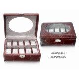 Cuoio Handmade di lusso di memoria/contenitore di vigilanza di legno con la serratura & la finestra 12xslots