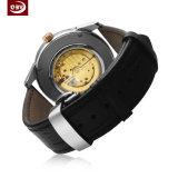 Lederne Brücke-Edelstahl-Armbanduhr der Männer