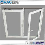 Guichet en aluminium enduit personnalisé de tissu pour rideaux de poudre avec le double vitrage