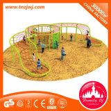 Дети парка атракционов взбираясь оборудование спортов спортивной площадки