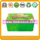 Contenitore rettangolare con il commestibile, contenitore di stagno di Storge di regalo del metallo