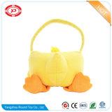 Jouet mou de panier de cadeau de canard de peluche animale jaune pelucheuse de forme