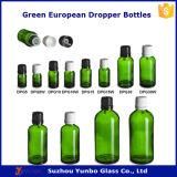 frascos do conta-gotas do vidro 50ml verde com tampão inalterável