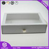 Scatola di presentazione impaccante del regalo di colore del cassetto bianco del cartone con la maniglia dell'oro