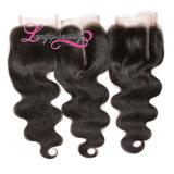 Chiusura brasiliana 100% dei capelli dell'onda del corpo del Virgin del commercio all'ingrosso della Cina 4*4