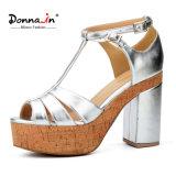 (Donna-в) яркая овчина покрыла сандалии платформы пробочки женщин T-Планки пятки