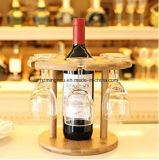 Flessen van de Wijn van het Rek van het Glas van de Wijn van het Rek van de Wijn van het decor de Houten met 6 Glazen