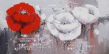 Art peint à la main de mur de peinture à l'huile pour la fleur
