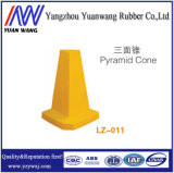 Cono durable de la pirámide del PE del amarillo 520m m