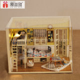 2017 pequeña divertida bricolaje juguete de madera casa de muñecas en miniatura Assemblling