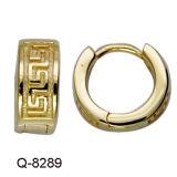 형식 도금되는 황금에 있는 CZ와 가진 금관 악기 귀걸이 굴렁쇠